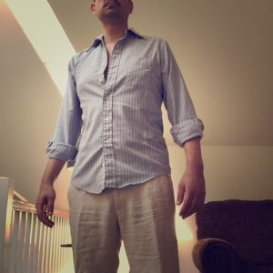 Vacation kit linen trousers and ocbd by LL Bean